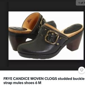 FRYE CANDICE woven studded belted mules shoes 6